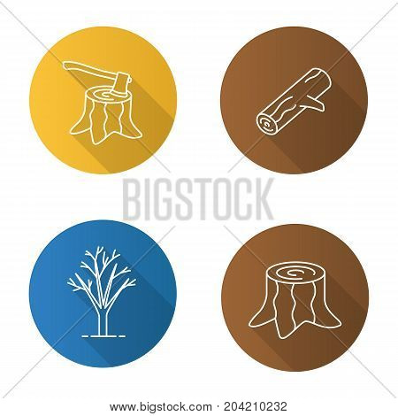 Forestry flat linear long shadow icons set. Stumps with axe inside, tree without leaves, firewood. Vector outline illustration