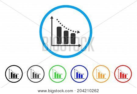 Negative Trend icon. Vector illustration style is a flat iconic negative trend grey rounded symbol inside light blue circle with black, gray, green, blue, red, orange color variants.