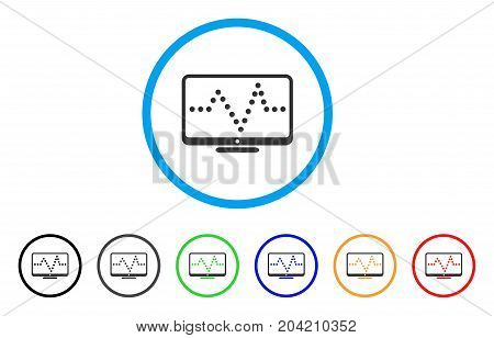 Pulse Chart icon. Vector illustration style is a flat iconic pulse chart gray rounded symbol inside light blue circle with black, gray, green, blue, red, orange color variants.