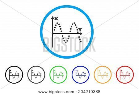 Sine Plot icon. Vector illustration style is a flat iconic sine plot gray rounded symbol inside light blue circle with black, gray, green, blue, red, orange color additional versions.