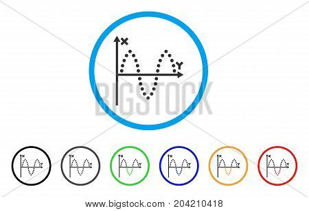 Sinusoid Plot icon. Vector illustration style is a flat iconic sinusoid plot gray rounded symbol inside light blue circle with black, gray, green, blue, red, orange color versions.