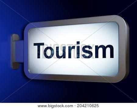 Tourism concept: Tourism on advertising billboard background, 3D rendering