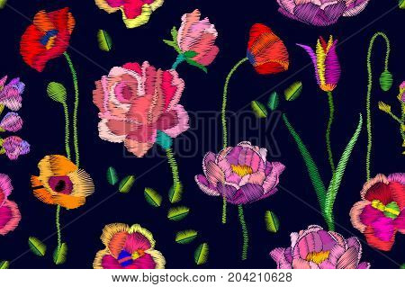 Seamless vector pattern with roses, chamomiles, poppies. Vintage motifs. Retro textile collection.