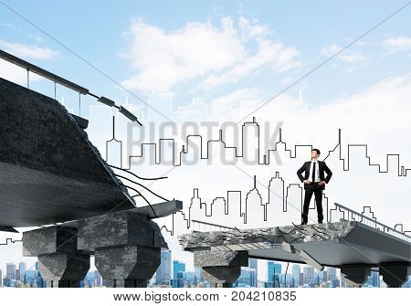 Confident businessman in suit looking away while standing on broken bridge with sketched cityscape on background. 3D rendering.