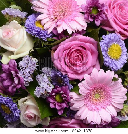 Flowers bouquet pink and purple for background