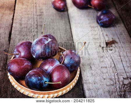 Fresh Ripe Plum Prunes Crop Harvest