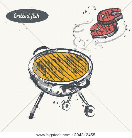 Hand drawn sketch. Grilled fish. Vector vintage illustration. Isolated object on light beige background. Menu design.