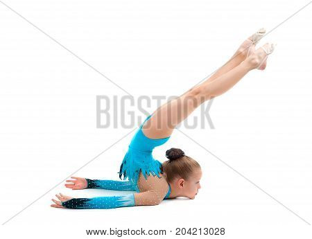 young girl doing gymnastics over white isolated,