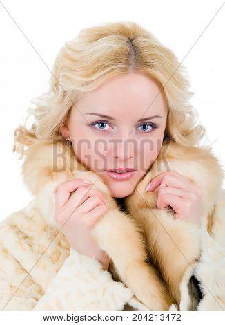Pretty Model Wearing Fur Coat