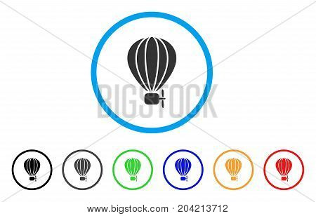 Aerostat Balloon icon. Vector illustration style is a flat iconic aerostat balloon grey rounded symbol inside light blue circle with black, gray, green, blue, red, orange color variants.