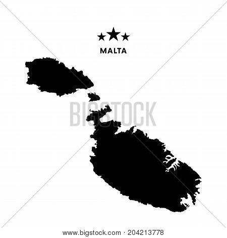 Malta map. Stars and text. Vector illustration.
