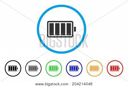Battery icon. Vector illustration style is a flat iconic battery gray rounded symbol inside light blue circle with black, gray, green, blue, red, orange color versions.