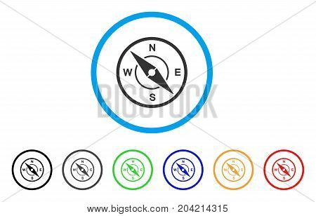 Compass icon. Vector illustration style is a flat iconic compass grey rounded symbol inside light blue circle with black, gray, green, blue, red, orange color versions.