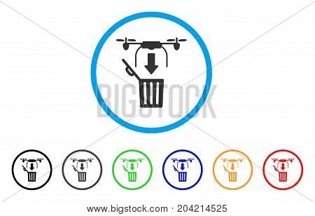 Drone Drop Trash icon. Vector illustration style is a flat iconic drone drop trash grey rounded symbol inside light blue circle with black, gray, green, blue, red, orange color variants.