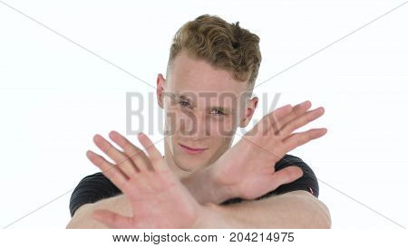 Angry, Abusing And Yelling Young Man Isolated On White Background