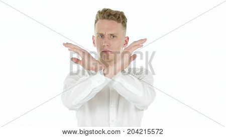 Portrait Of  Shocked Young Businessman Isolated On White Background