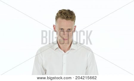 Stop Gesture By Stopping Businessman Isolated On White Background
