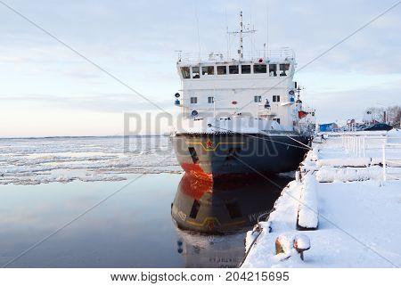 Icebreaker ship quay freeze-up russia  snow  travel,
