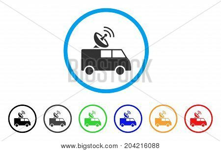 Radio Control Car icon. Vector illustration style is a flat iconic radio control car gray rounded symbol inside light blue circle with black, gray, green, blue, red, orange color additional versions.