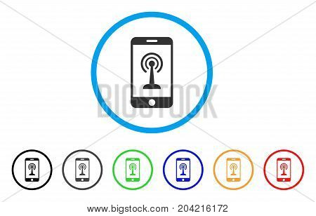 Radio Control Smartphone icon. Vector illustration style is a flat iconic radio control smartphone grey rounded symbol inside light blue circle with black, gray, green, blue, red,