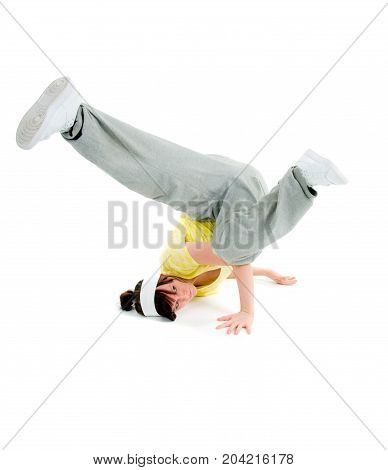cool looking dancer posing . isolated breakdance