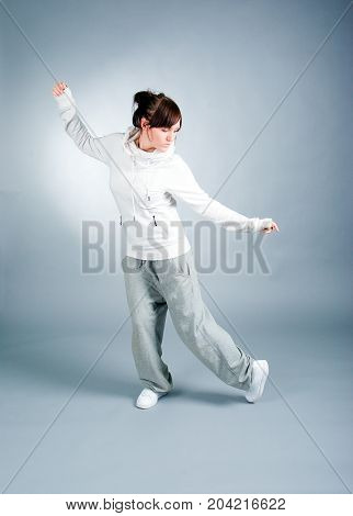 cool looking white dancer posing . breakdance
