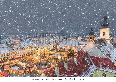 View of historical center of Sibiu at Christmas time Transylvania Romania.