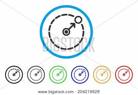 Round Area Border icon. Vector illustration style is a flat iconic round area border gray rounded symbol inside light blue circle with black, gray, green, blue, red, orange color additional versions.