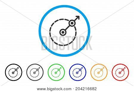 Round Area Exit icon. Vector illustration style is a flat iconic round area exit gray rounded symbol inside light blue circle with black, gray, green, blue, red, orange color variants.