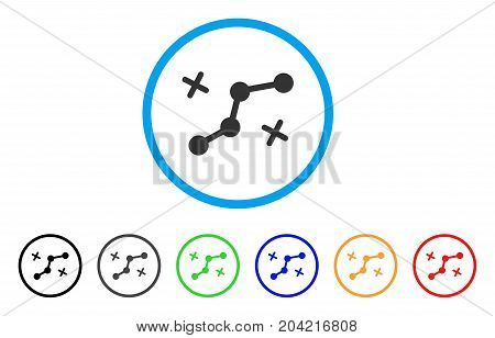 Route Points icon. Vector illustration style is a flat iconic route points gray rounded symbol inside light blue circle with black, gray, green, blue, red, orange color variants.