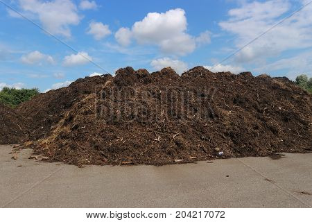 Biowaste and green waste windrows in an open air composting facility