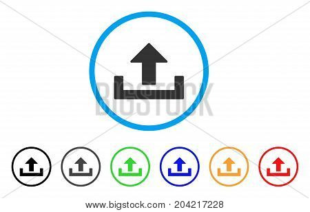Upload icon. Vector illustration style is a flat iconic upload gray rounded symbol inside light blue circle with black, gray, green, blue, red, orange color additional versions.