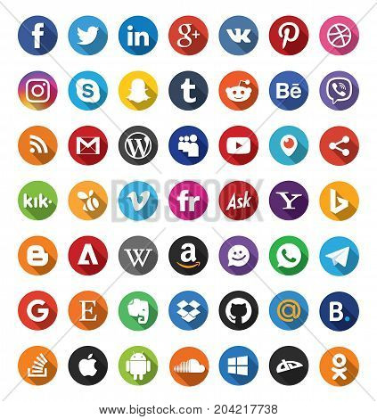 Set of 49 Social Media Icons Web