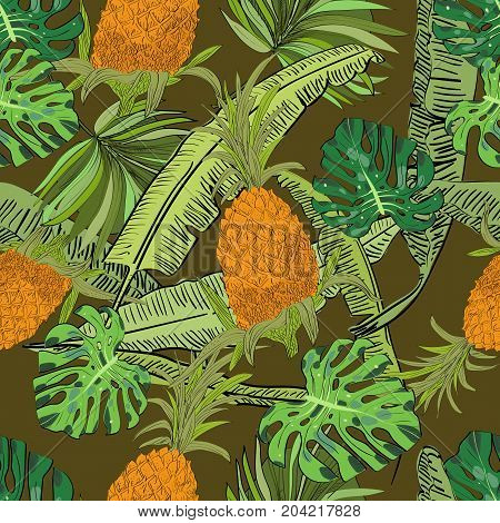 Vector Drawn Tropical Seamless Pattern On Brown Background With Pineapples, Monstera And Banana Leav