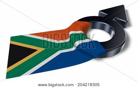 mars symbol and flag of south africa - 3d rendering