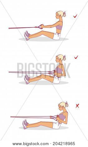 Girl performs exercises with an expander to strengthen the bicuspid muscle of the shoulder.Correct and non-correct execution of the exercise. Isolated on white background