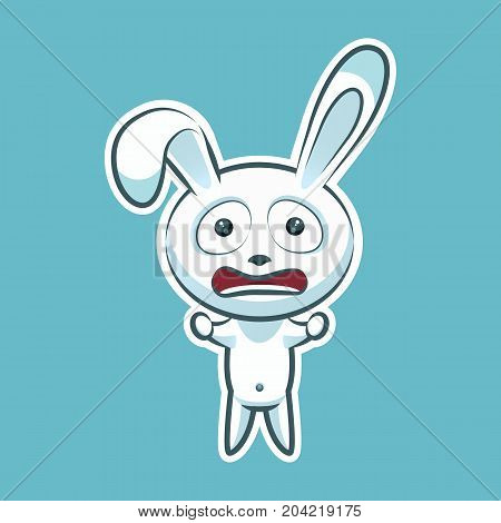 Sticker emoji emoticon emotion horrified screaming, clenched fists vector isolated illustration character sweet, cute white rabbit, bunny, hare, coney, cony, lapin for happy Easter mobile app