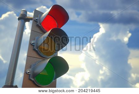 3D illustration. Traffic light with red light on signal closed to go ahead.