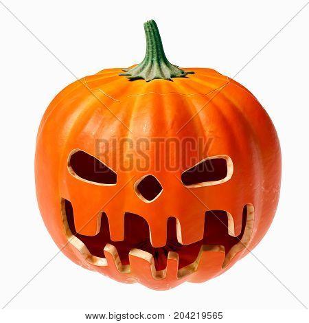 Halloween pumpkin orange face, isolated 3D illustration