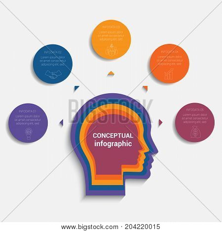 Circles with the text around the head of person template for conceptual infographics 5 positions