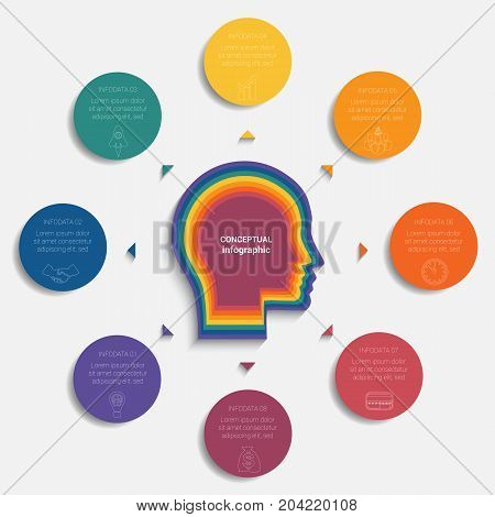 Circles with the text around the head of person template for conceptual infographics 8 positions