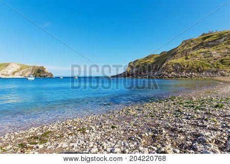 Popular Lulworth Cove Atlantic ocean coast, Dorchester, England, United Kingdom