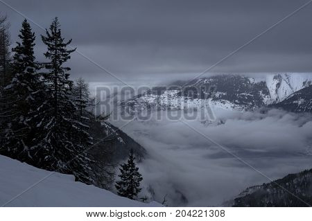cloudy winter day in rothwald in switzerland