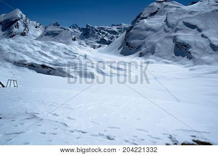 landscape from gemmi pass in switzerland during winter