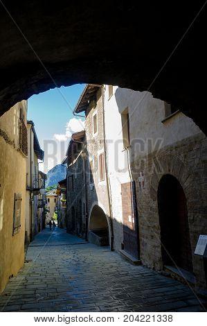 a narrow street in bard in aosta valley