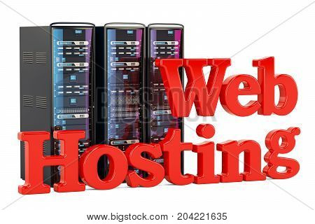 Computer Server Racks computer web hosting concept. 3D rendering isolated on white background