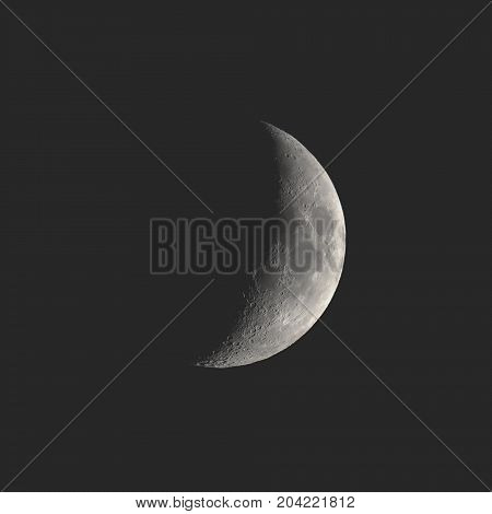 Waning Crescent Moon Seen With Telescope