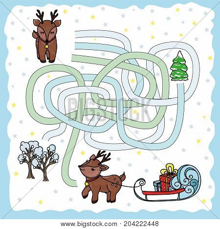 Maze game help me find the way of the reindeer to the sleigh with reindeer