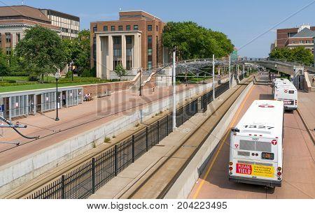 Metro Light Rail And Bus Line On University Of Minnesota