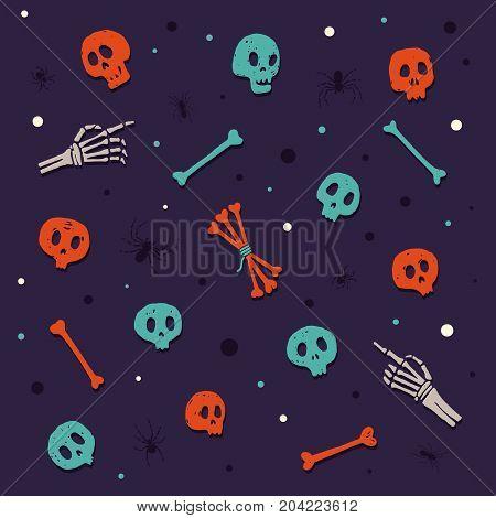 Happy Halloween. Skulls and bones. Set of colored cartoon elements on theme of celebrating Halloween. Vector illustration.